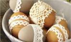 Пасха: как красить яйца в кружеве