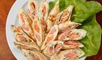 Блины из шпината с лососем