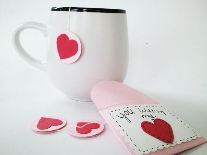 Как сделать чайный пакетик-валентинку