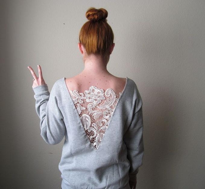 Модный гардероб: украшаем свитера кружевом (видео)