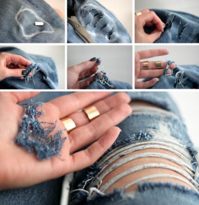 Как сделать модные дырки на джинсах (фото)