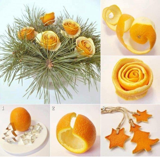 Готовим новогодний декор: делаем «розочки» из апельсина