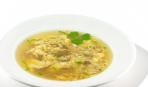 Суп с ветчиной и яичной паутинкой
