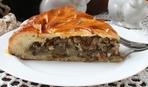 Постный пирог с грибами и гречкой