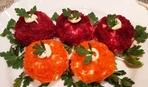 Оригинальный салат «Сырные ежики»