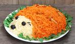 Новогодний салат с корейской морковью «Ежик»: рецепт с фото
