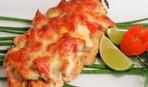Нежная рыба с сыром и грибами в духовке