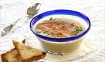 Суп из зелёного горошка и лосося