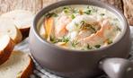 Норвежский суп с семгой и стручковой фасолью