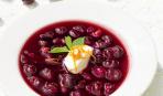 Суп из черешни с творожным муссом