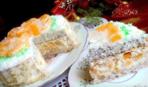 Торт «Мандарины на льду» из 3-х видов коржей