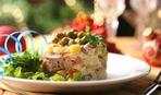 """Удивительный желированный салат """"Оливье"""" со шпротами"""