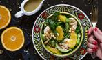 """Гурман-меню: салат """"Фрай"""" с авокадо, курицей и апельсинами"""