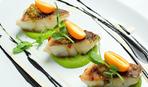 Рыба с овощами и зелёное пюре