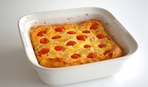 Клафути с сыром, помидорами черри и оливками