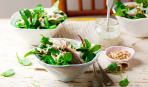 Скандинавский салат с рыбой и вишней