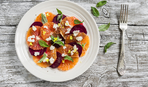 Теплый салат из апельсина и свеклы