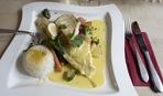 Нежная рыбка с овощами и омлетом