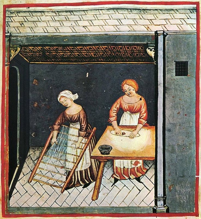 Производство пасты. Миниатюра из «Tacuinum Sanitatis». Начало XV века