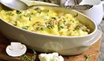 Запеченная цветная капуста с грибами и сыром