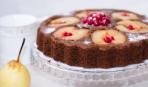 Творожный пирог с грушей и вишней